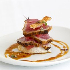 Seared Yellowfin Tuna with Sweet Pork Crackling, Ruby Red Grapefruit & Black Pepper Caramel