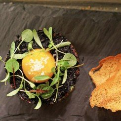 beef tartare with black garlic