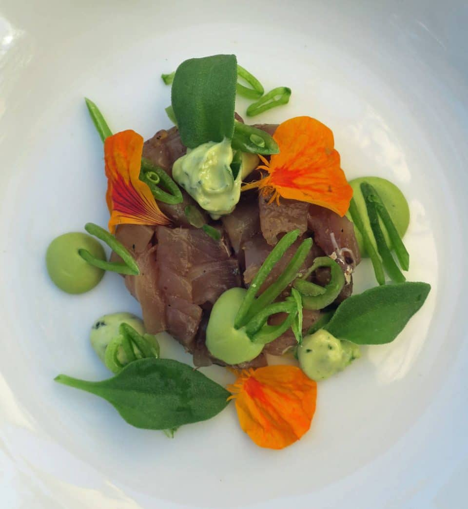 Yellowtail Jack, Snap Peas, Ice Lettuce, Sorrel