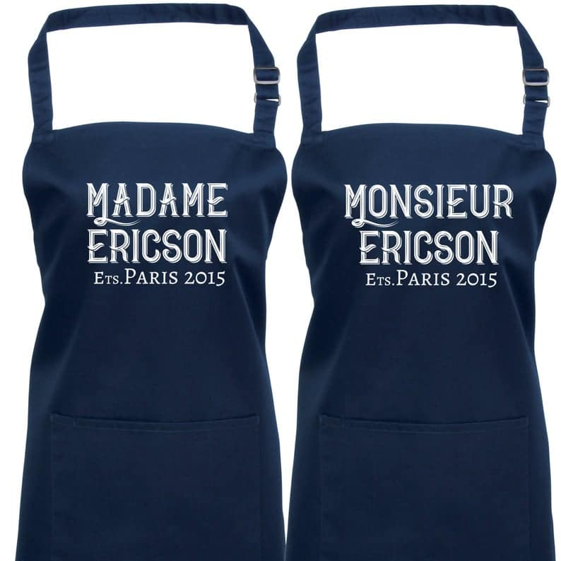 Personalised Monsieur & Madame Aprons.