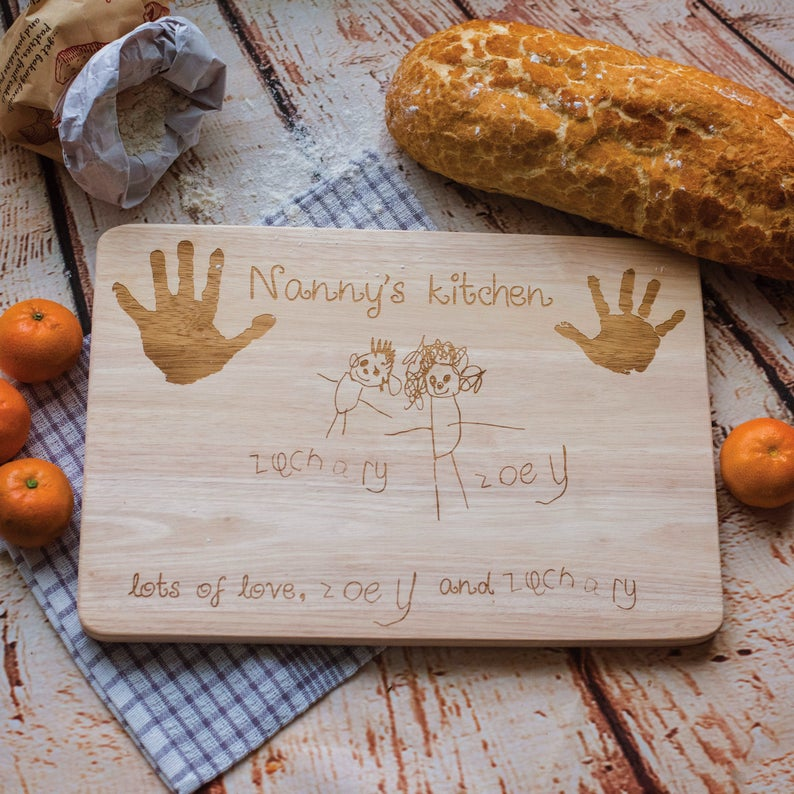 Your child's drawing and handprint wooden chopping board