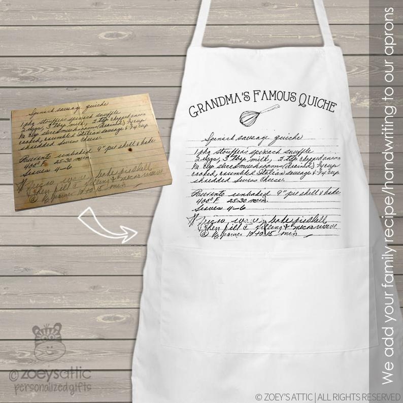 Handwritten recipe personalized bib apron