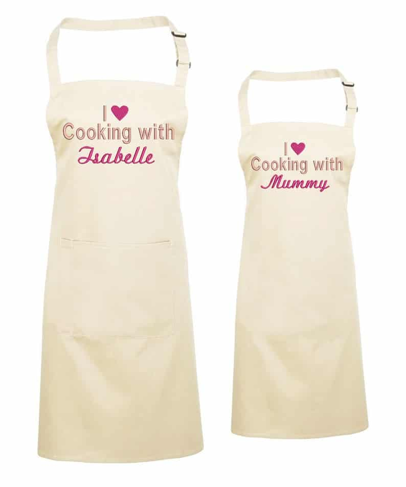 Personalised Matching Mother and Daughter Aprons