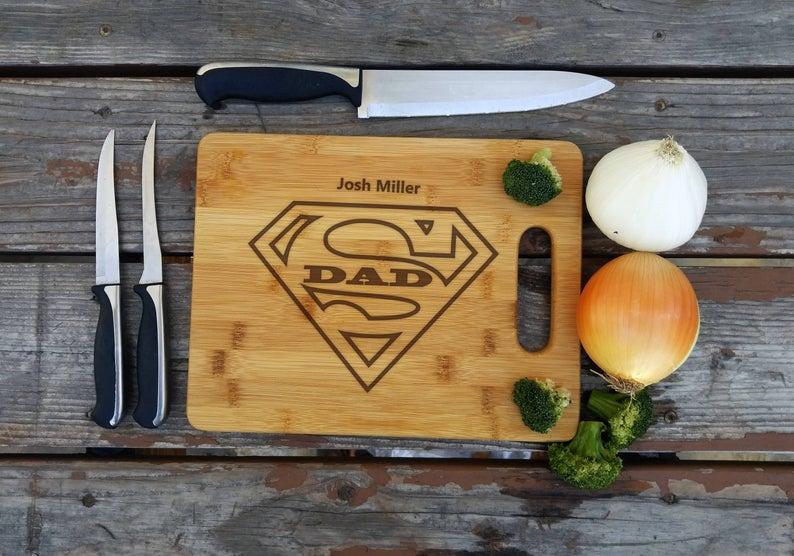 super dad personalized cutting board