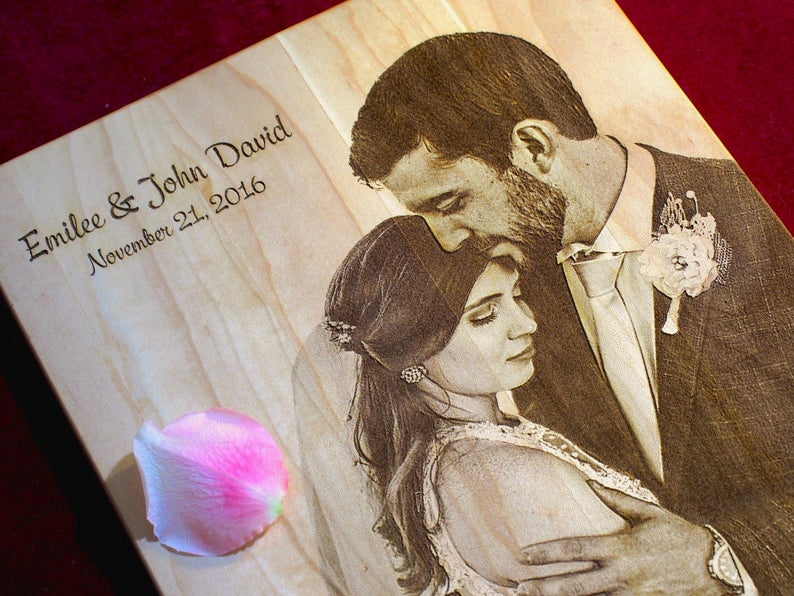 couple newlyweds engraved gifts natural wood cutting board
