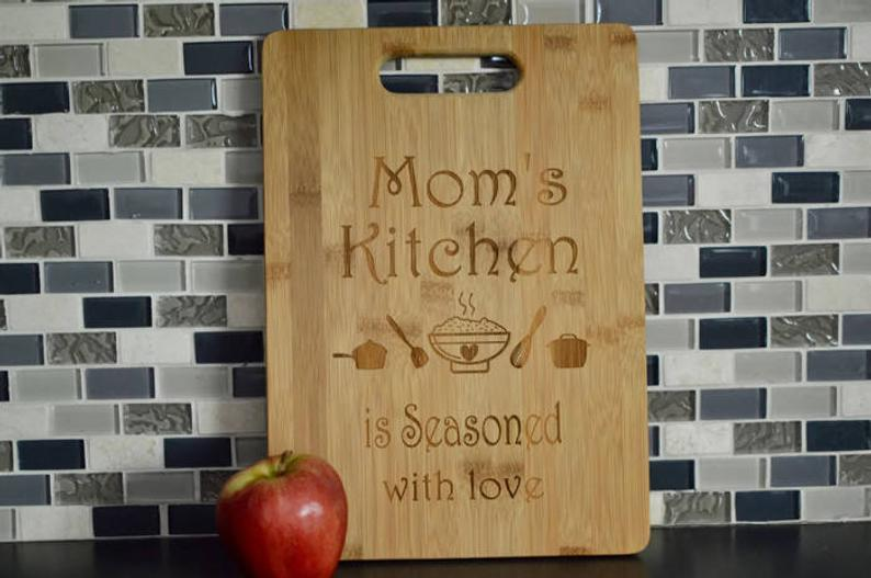 Mom's Kitchen Laser Engraved Cutting Board