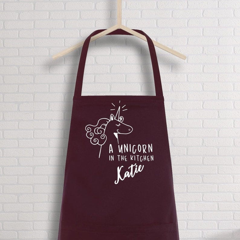 A unicorn in the kitchen apron with name
