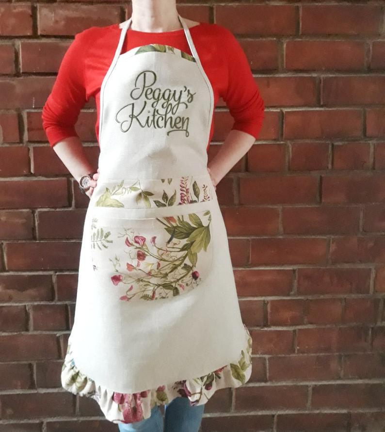 Custom linen apron
