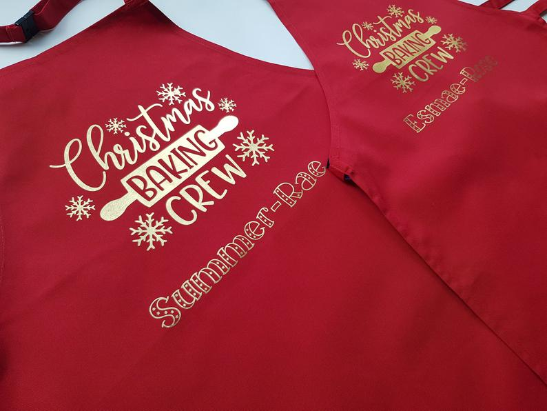 Personalised Matching Family Christmas Baking Crew Aprons