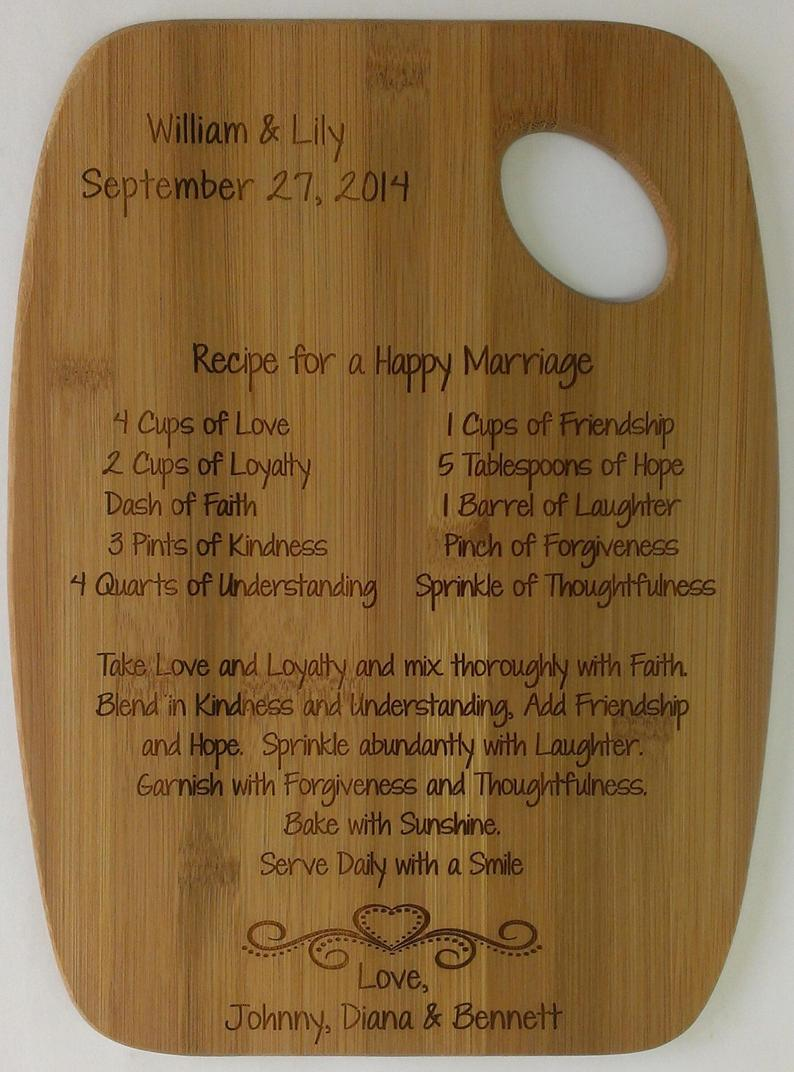 Recipe for a Happy Marriage Cutting Board
