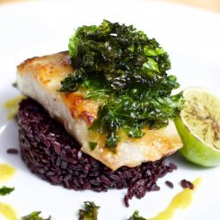 Miso Cod With Black Pilaf Rice, Wasabi Essence