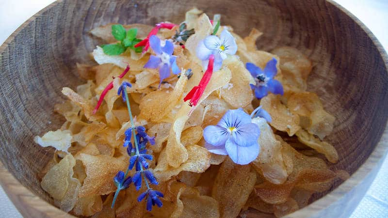 potato chips with edible flowers